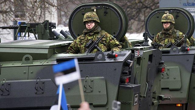 Парад эстонских войск в Нарве в день независимости Эстонии. Архивное фото