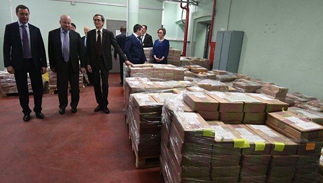 Склад, где хранятся избирательные бюллетени для голосования на выборах президента Российской Федерации на Московской печатной фабрике АО Гознак