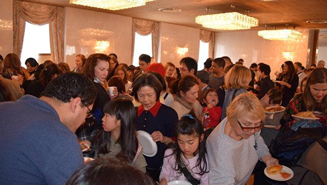 Празднование Масленицы в посольстве России в Японии. 17 февраля 2018 года