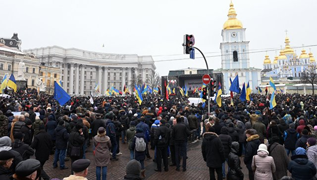 Митинг сторонников Михаила Саакашвили в Киеве с требованием отставки действующего президента Украины Петра Порошенко. 18 февраля 2018