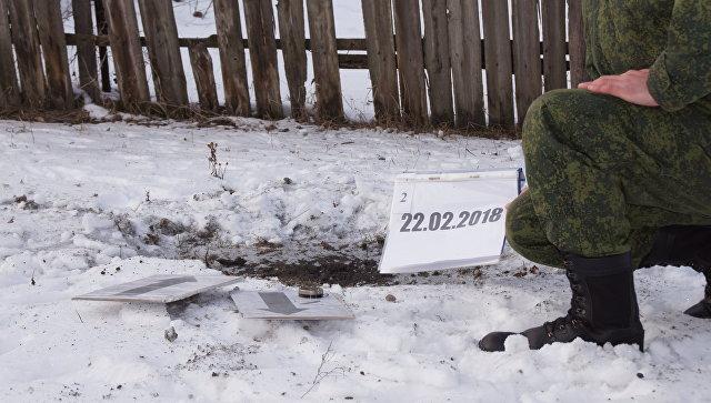 Представители ЛНР в СЦКК фиксируют последствия обстрела села Долгое в ЛНР. 22 февраля 2018