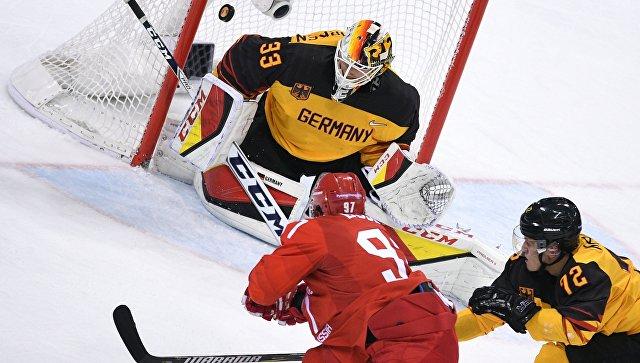 Данни аус ден Биркен пропускает шайбу в свои ворота в финальном матче Россия - Германия по хоккею среди мужчин на XXIII зимних Олимпийских играх. 25 февраля 2018