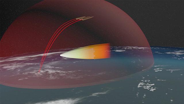 Изображение российского ракетного комплекса стратегического назначения с гиперзвуковым планирующим крылатым блоком
