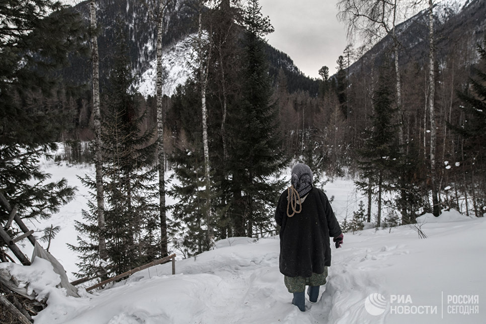Агафья Карповна идет в лес за дровами.