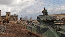Турецкие танки и вертолеты продвигаются в деревню Аль-Маабатлы в регионе Африн в северо-западной части провинции Алеппо в Сирии в рамках продолжающегося наступления. 2 марта 2018