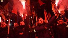 Участники факельного шествия активистов праворадикальных организаций во Львове. 4 марта 2018
