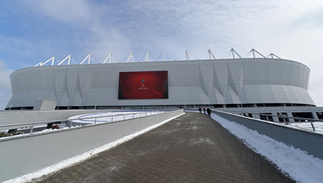 Строящийся футбольный стадион Ростов Арена в Ростове-на-Дону