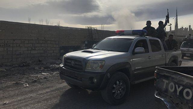 Сирийские военные в поселении Хамурия в Восточной Гуте. 15 марта 2018