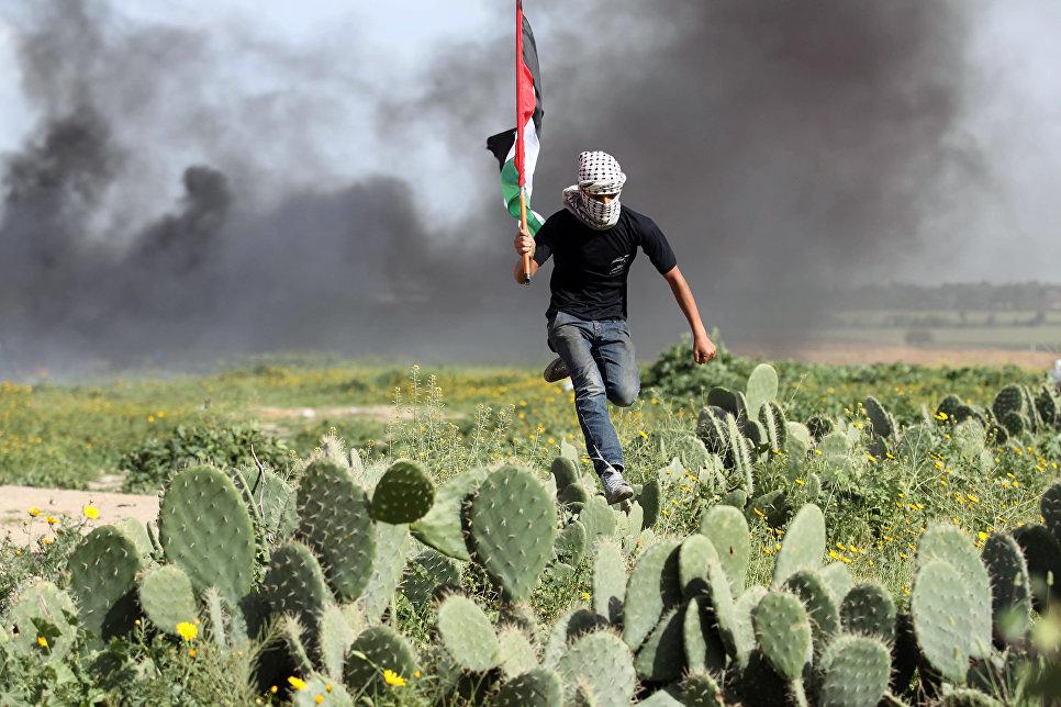 Палестинский демонстрант перебегает через кактусовое поле во время столкновений с израильскими силами на границе между Израилем и сектором Газа