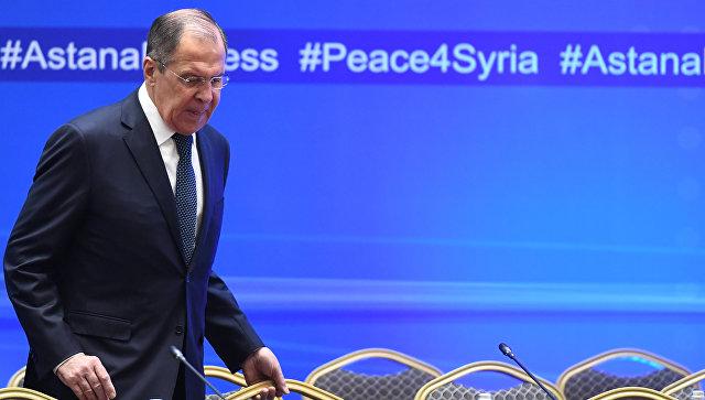 Министр иностранных дел РФ Сергей Лавров перед началом встречи глав МИД стран-гарантов перемирия в Сири), которая проходит в Астане. 16 марта 2018