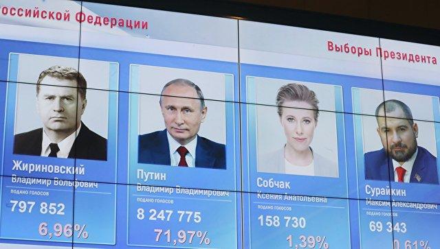 Портреты кандидатов в президенты РФ с данными по голосованию за них на экране в ЦИК РФ. Архивное фото