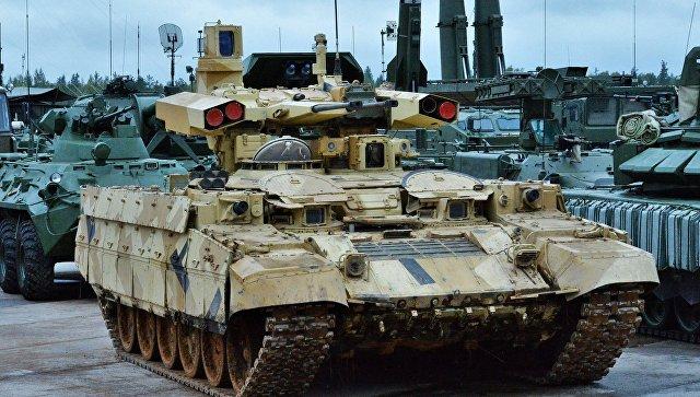 Боевая машина поддержки танков (БМПТ) Терминатор-2 во время совместных стратегических учений (ССУ) вооружённых сил России и Белоруссии на Лужском полигоне в Ленинградской области.