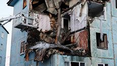 Многоквартирный жилой дом на улице Свердлова в Мурманске, пострадавший от взрыва газа. 20 марта 2018