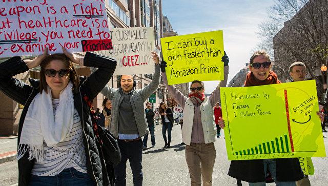 ВСША прошли демонстрации заужесточение законодательства оборужии