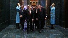 Президент РФ Владимир Путин и президент Турции Реджеп Тайип Эрдоган во время встречи в президентском дворце в Анкаре. 3 апреля 2018