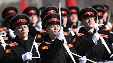 Курсанты Московского военно-музыкального училища на репетиции парада Победы. 9 апреля 2018