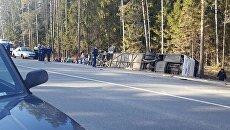 ДТП на 67-км автодороги А-107 с автобусом с детьми. 12 апреля 2018