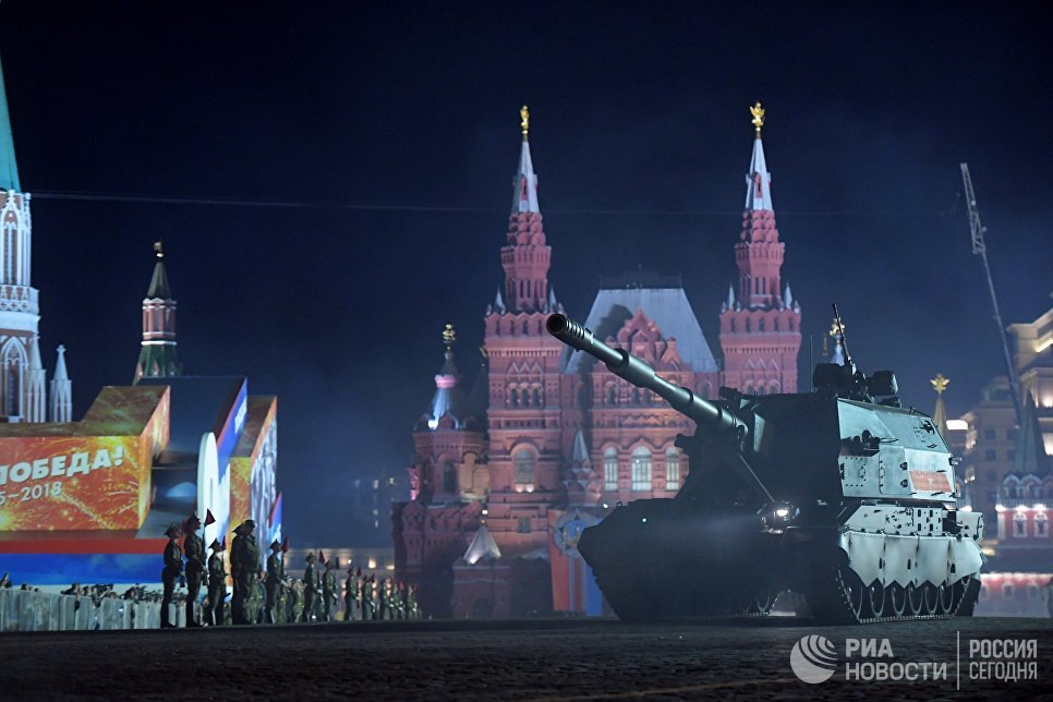 Самоходная артиллерийская установка Коалиция-СВ на репетиции военного парада на Красной площади, посвященного 73-й годовщине Победы в Великой Отечественной войне