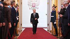 Избранный президент РФ Владимир Путин во время церемонии инаугурации в Кремле. 7 мая 2018
