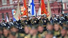 Парадный расчет нахимовского училища на военном параде, посвященном 73-й годовщине Победы в Великой Отечественной войне 1941-1945 годов