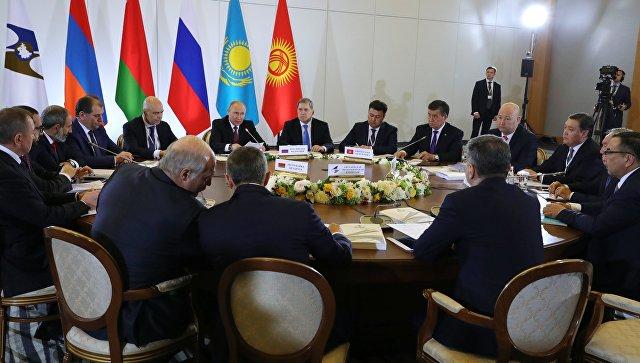Президент России Владимир на заседании Высшего Евразийского экономического совета в Сочи. 14 мая 2018