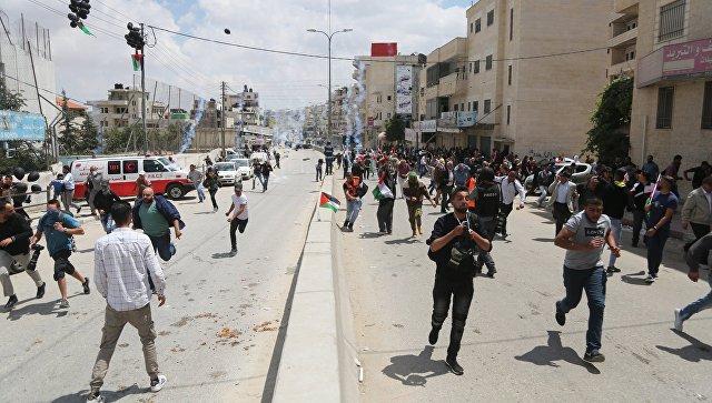 Участники протеста в Палестине против переноса посольства США в Иерусалим. Архивное фото