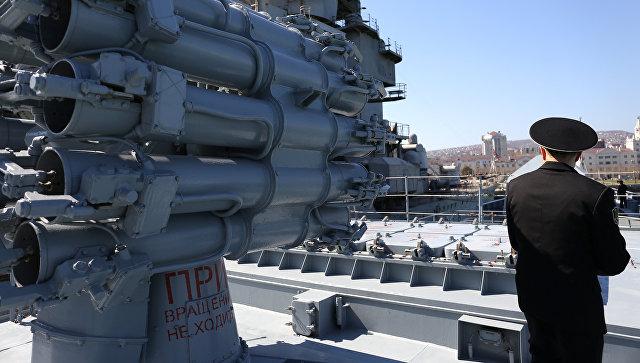 Установка Калибр на фрегате ВМС России
