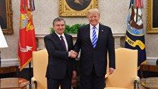 Президент Узбекистана Шавкат Мирзиёев и президент США Дональд Трамп во время встречи. 16 мая 2018