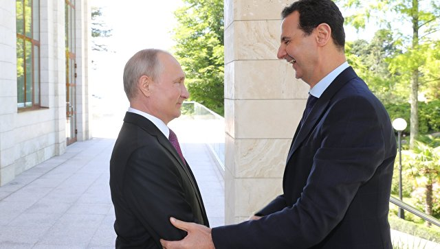 Президент РФ Владимир Путин и президент Сирийской арабской республики Башар Асад. Архивное фото