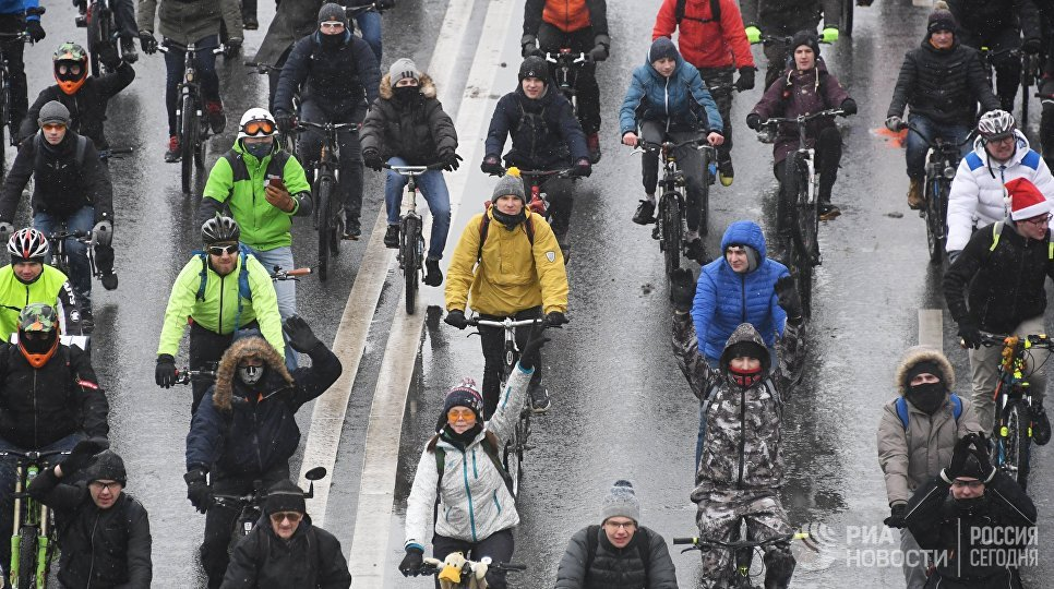 Третий зимний московский велопарад