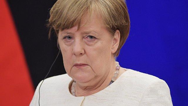 Федеральный канцлер ФРГ Ангела Меркель на пресс-конференции по итогам встречи с президентом РФ Владимиром Путиным в Сочи. 18 мая 2018