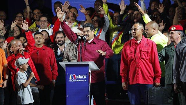 Президент Венесуэлы Николас Мадуро выступает после обнародования результатов выборов. Архивное фото
