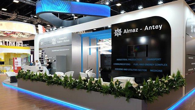 Стенд компании Алмаз-Антей в конгрессно-выставочном центре Экспофорум накануне открытия Санкт-Петербургского международного экономического форума