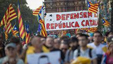Участники акции протеста в Барселоне. Архивное фото