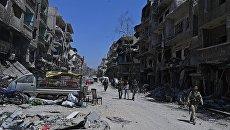 Освобожденный от боевиков лагерь на юге Дамаска. Архивное фото