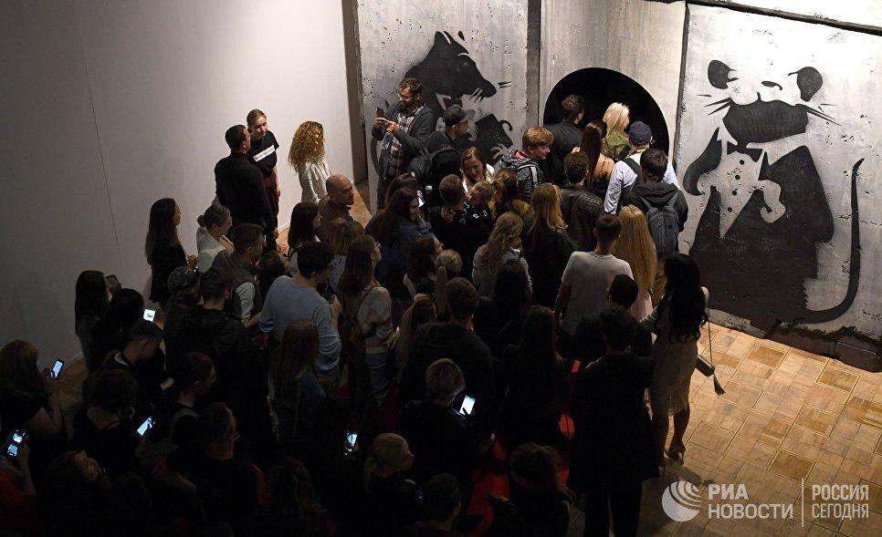 Очередь на предпоказ выставки английского уличного художника Бэнкси в Центральном доме художника
