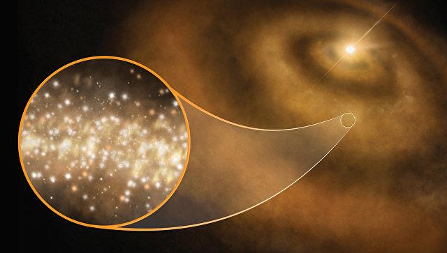 Так художник представил себе облако из наноалмазов в окрестностях новорожденной звезды