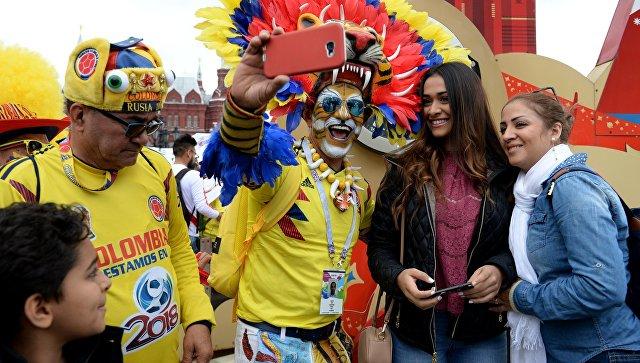 Болельщики сборной Колумбии на Манежной площади в Москве. архивное фото