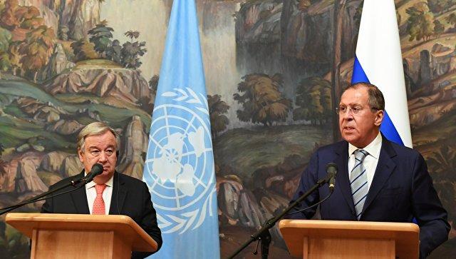Генеральный секретарь ООН Антониу Гутерреш и министр иностранных дел РФ Сергей Лавров на пресс-конференции в Москве. 21 июня 2018