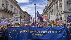 Участники акции протеста против предстоящего Brexit в Лондоне, Великобритания. 23 июня 2018