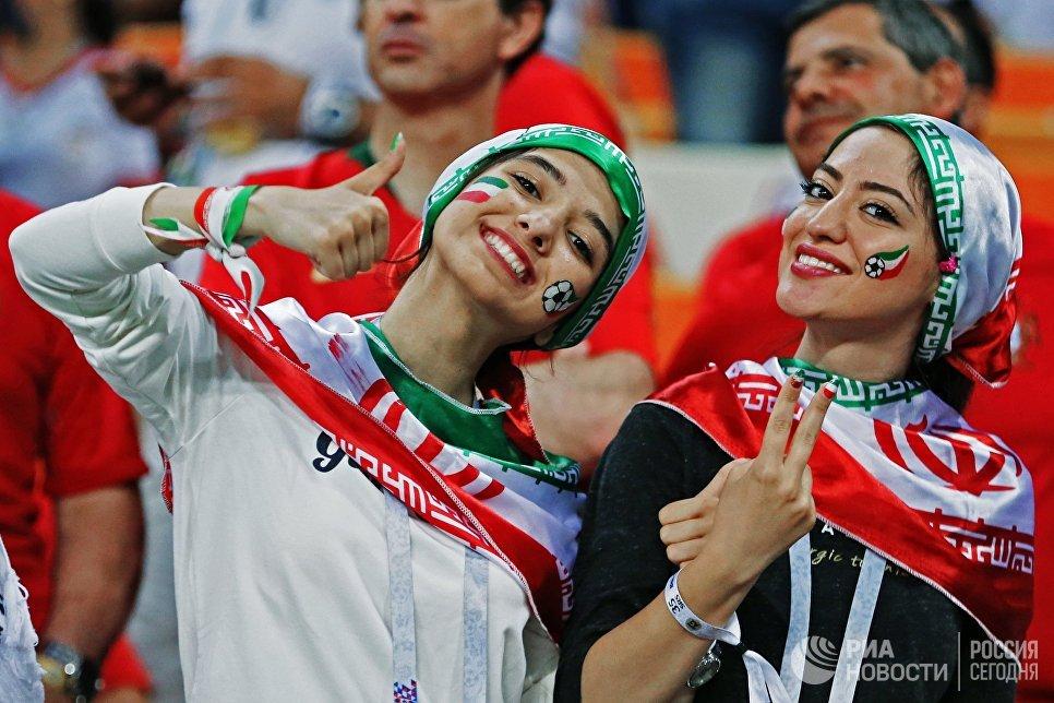 Болельщицы сборной Ирана на матче ЧМ-2018 по футболу между сборными Ирана и Португалии