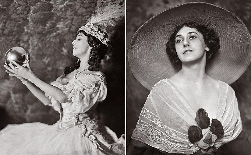 Слева: Матильда Кшесинская в роли Армиды. Справа: Тамара Карсавина, студийный портрет.