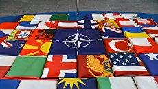 Флаги стран-членов НАТО в Брюсселе. Архивное фото