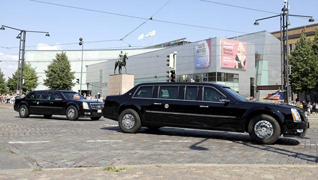 Лимузин Дональда Трампа The Beast в Хельсинки перед встречей лидеров РФ и США. 16 июля 2018