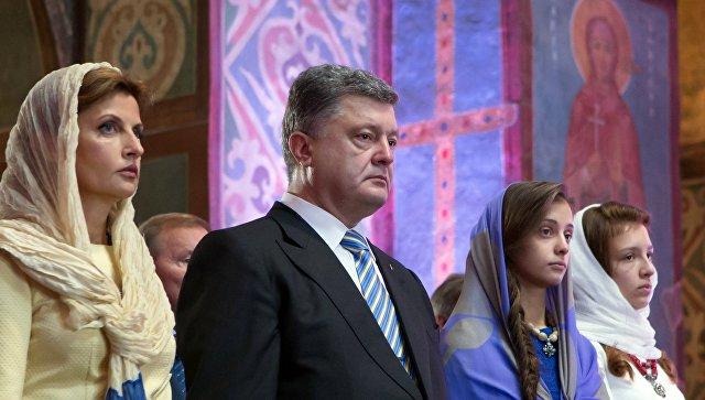 Президент Украины Петр Порошенко с супругой Мариной и дочерьми. Архивное фото