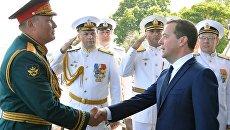 Премьер-министр РФ Д. Медведев принял участие в праздновании Дня ВМФ в Севастополе. Архивное фото