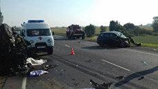 ДТП с микроавтобусом Mercedes и автомобилем Ford на 230-м километре автодороги М-3 Украина, Калужская область. 4 августа 2018