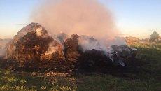 Пожар в стогах сена в деревне  Какшансола Медведевского района Республики Марий Эл. 15 августа 2018