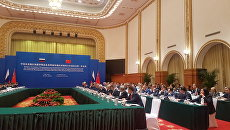 Пленарное заседание межправительственной российско-китайской комиссии по сотрудничеству и развитию Дальнего Востока и Байкальского региона РФ и Северо-Востока КНР в китайском городе Далянь. 21 августа 2018