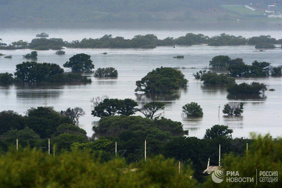 Затопления в результате паводка в Уссурийске. 27 августа 2018